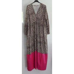 ESViViD Damen Maxi Kleid Leo beige schwarz braun pink 38 - 42