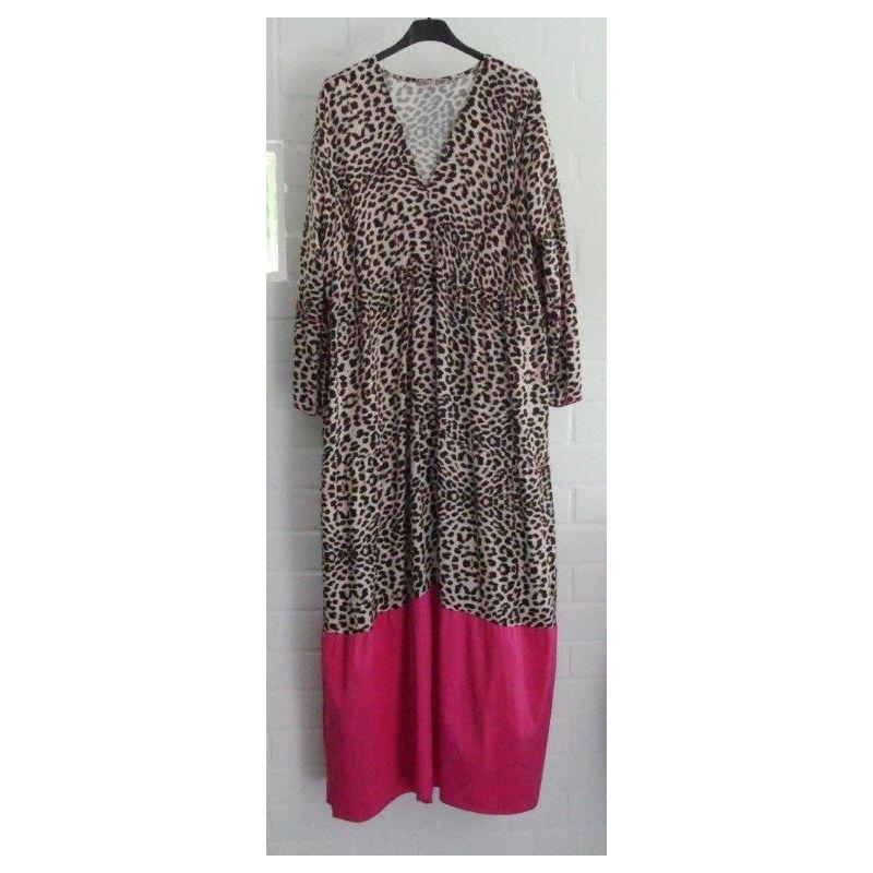 ESViViD Damen Maxi Kleid Leo beige schwarz braun pink