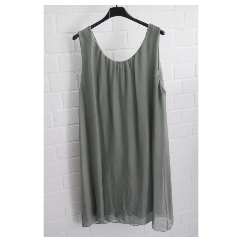ESViViD Damen Kleid Tunika Seide khaki oliv grün Onesize ca. 36 - 42