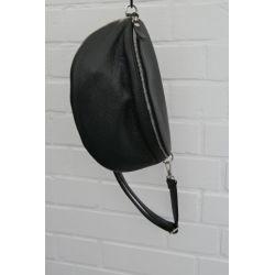 Damen Echt Leder Gürtel Tasche Handtasche Bauchtasche schwarz black uni Gr. XL