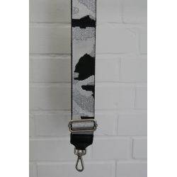 Taschen Gurt Handtasche Gürteltasche schwarz weiß silber Camouflage silberne Schnalle