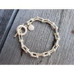 Damen Gliederarmband gold matt Metall Kunststoff Onesize