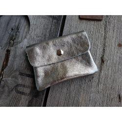 Portemonnaie Geldbörse Börse klein silber silver Echtes Leder
