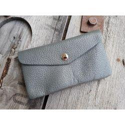Portemonnaie Geldbörse Börse groß grau grey Echtes Leder