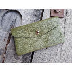 Portemonnaie Geldbörse Börse groß khaki oliv grün Echtes Leder