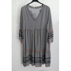 Damen Tunika Kleid A-Form schwarz weiß neon orange Onesize 38 - 42