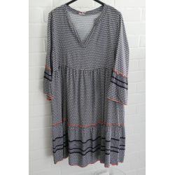 Damen Tunika Kleid A-Form dunkelblau weiß neon orange Onesize 38 - 42