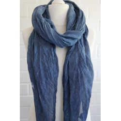 XXL Schal Tuch blau verwaschen 100% Baumwolle Asymmetrisch Blogger Style