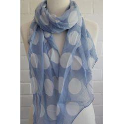 Schal Tuch Loop Made in Italy Seide Baumwolle jeansblau weiß Riesen Punkte