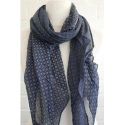 Schal Tuch Loop Made in Italy Seide Baumwolle dunkelblau weiß Krawattenmuster