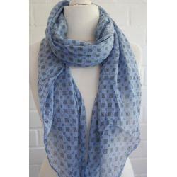Schal Tuch Loop Made in Italy Seide Baumwolle jeansblau schwarz Krawattenmuster