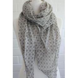 Schal Tuch Loop Made in Italy Seide Baumwolle beige schwarz Krawattenmuster