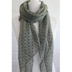 Schal Tuch Loop Made in Italy Seide Baumwolle khaki oliv grün schwarz Krawattenmuster
