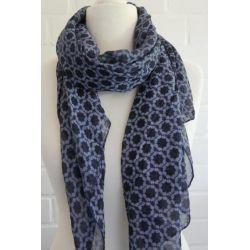 Schal Tuch Loop Made in Italy Seide Baumwolle dunkelblau bleu Phantasiemuster