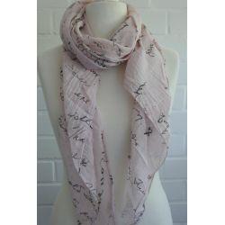 Schal Tuch Loop Made in Italy Seide Baumwolle rose schwarz Schrift