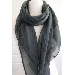 Schal Tuch Loop Made in Italy Seide Baumwolle anthrazit schwarz Schrift
