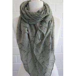 Schal Tuch Loop Made in Italy Seide Baumwolle khaki oliv grün schwarz Schrift