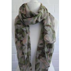 Schal Tuch Loop Made in Italy Seide Baumwolle taupe braun khaki oliv grün Camouflage