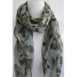 Schal Tuch Loop Made in Italy Seide Baumwolle grau beige khaki grün Camouflage