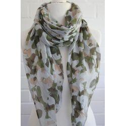Schal Tuch Loop Made in Italy Seide Baumwolle hellgrau beige khaki grün Camouflage