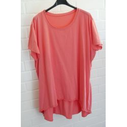 Damen Shirt A-Form kurzarm orange - lachs Baumwolle Onesize ca. 38 - 46