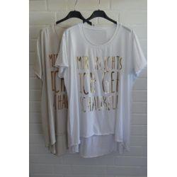 """Damen Shirt A-Form kurzarm weiß goldfarben """"Mir..."""