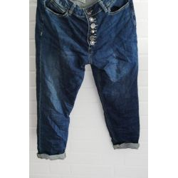 Bequeme Sportliche Damen Jeans Karotte Baggy dunkelblau Coole Knöpfe