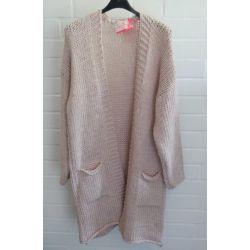 Damen Grob Strick Jacke lang rose rosa Onesize 38 - 42 mit Wolle