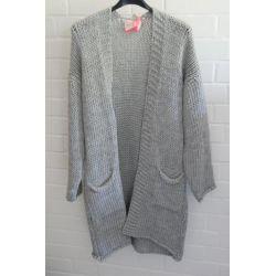 Damen Grob Strick Jacke lang hellgrau grau Onesize 38 - 42 mit Wolle