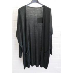 Leichte Damen Basic Strick Jacke schwarz black mit Modal Onesize ca. 36 - 42