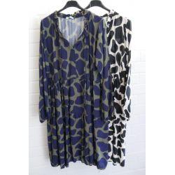 Damen Tunika Kleid A-Form creme schwarz Muster...