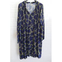 Damen Tunika Kleid A-Form dunkelblau oliv Muster Bänder Onesize ca. 38 - 42