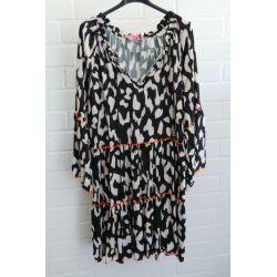 Kürzere Damen Tunika Kleid A-Form creme schwarz orange Muster Bänder Onesize ca. 36 - 42