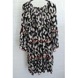 Kürzere Damen Tunika Kleid A-Form creme schwarz...