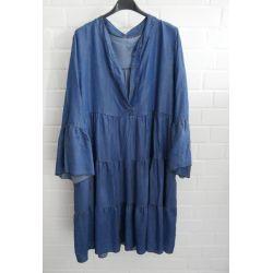 Damen Jeans Tunika Kleid A-Form dunkel Jeans uni Tencel Onesize 38 - 44
