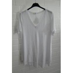 ESViViD Damen Shirt A-Form weiß white kurzarm Falte Rücken mit Baumwolle Onesize ca. 38 - 42