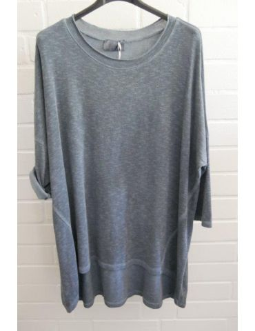 ESViViD Damen Shirt 3/4 Ärmel rauchblau blau mit Baumwolle Onesize ca. 38 - 44 3611