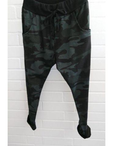 Wendy Trendy Jogginghose JoggPants Damenhose Hose schwarz khaki grün Camouflage mit Baumwolle