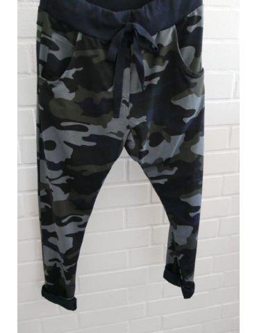 Wendy Trendy Jogginghose JoggPants Damenhose Hose dunkelblau schwarz khaki graublau Camouflage mit Baumwolle