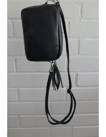 Damen Echt Leder Crossbag Handtasche Schultertasche dunkelblau marine Klassiker