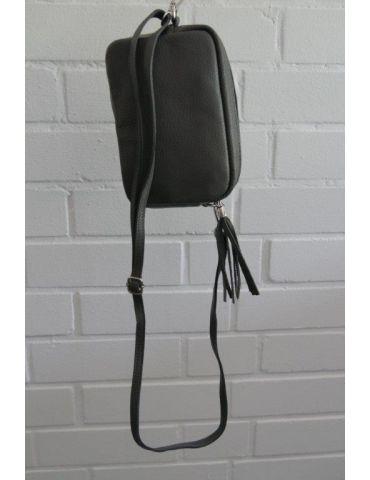 Damen Echt Leder Crossbag Handtasche Schultertasche grau grey Klassiker