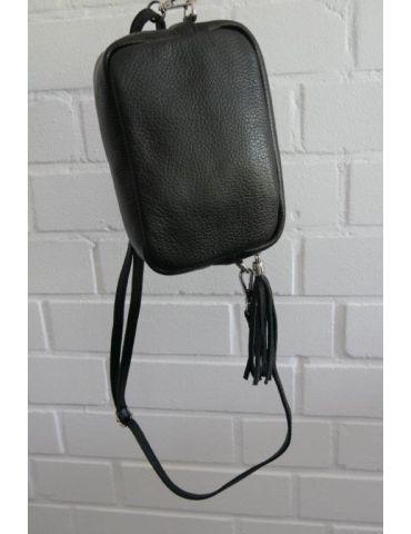 Damen Echt Leder Crossbag Handtasche Schultertasche schwarz black Klassiker