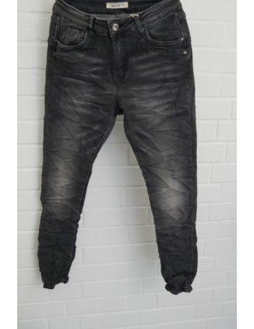Jewelly Damen Jeans Hose schwarz grau verwaschen gecrasht mit Baumwolle JW 7001