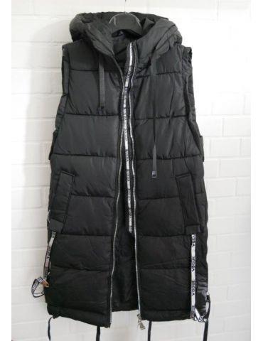 Trendiger Damen Stepp Mantel Jacke ärmellos schwarz Bänder Kapuze