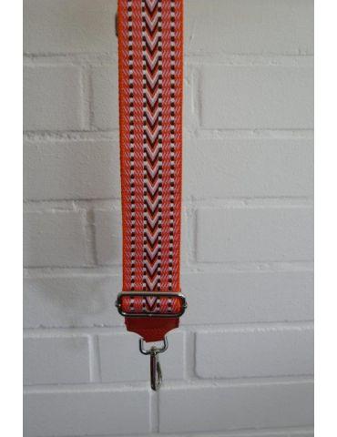 Taschen Gurt Handtasche Gürteltasche orange schwarz weiß rose Muster silberner Karabiner