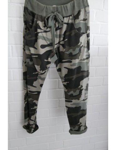 Wendy Trendy Jogginghose JoggPants Damenhose Hose beige lind grün khaki Camouflage mit Baumwolle