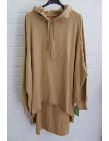 XXXL Big Size Hoodie Sweat Shirt langarm camel caramell Baumwolle Onesize 38 - 50