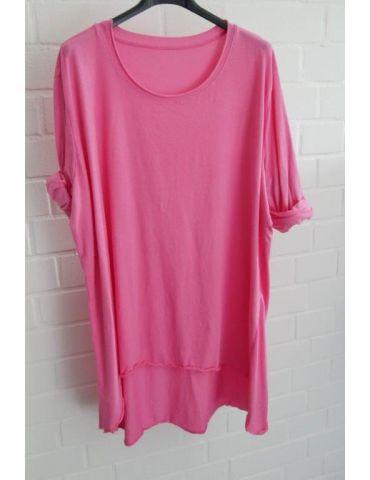Damen Shirt langarm pink uni mit Baumwolle Onesize 38 - 46