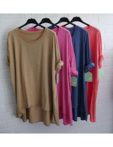 Damen Shirt langarm pink uni mit Baumwolle...