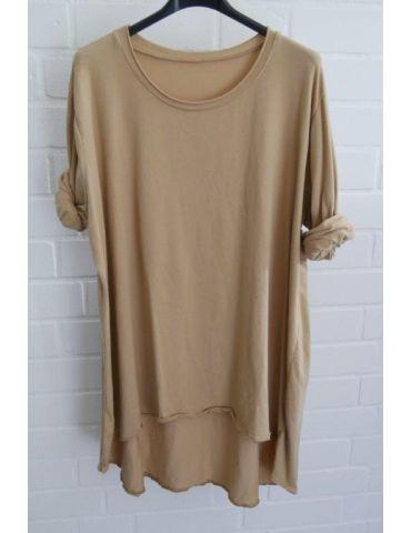 Damen Shirt langarm camel uni mit Baumwolle Onesize 38 - 46